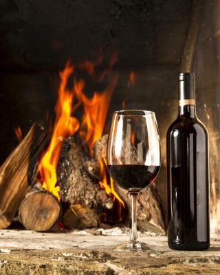Wine and fireplace - Obrázkek zdarma pro 480x640