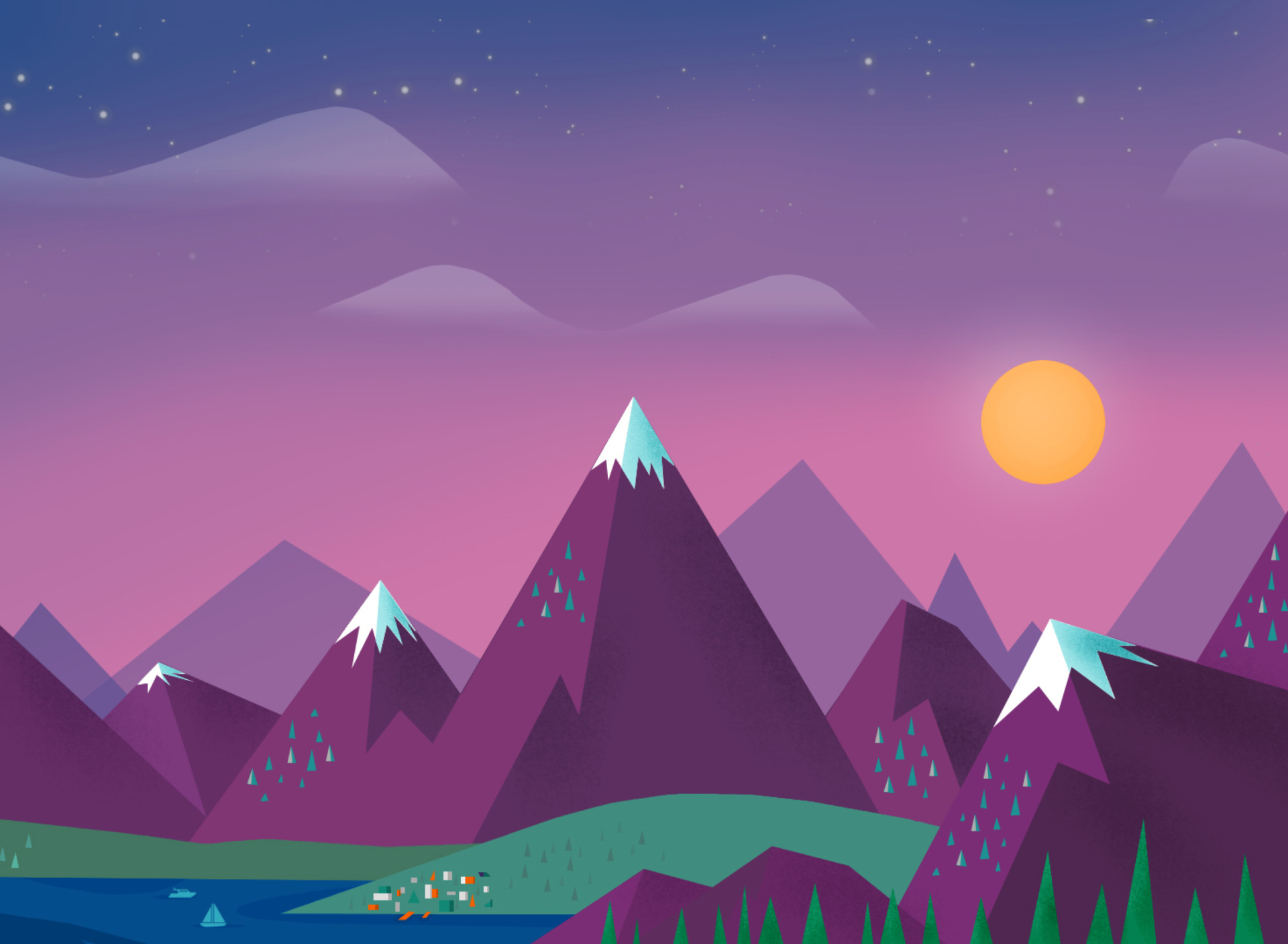 Purple Mountains Illustration Wallpaper For Samsung Galaxy S5