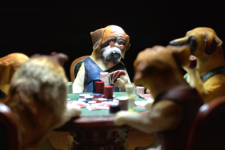 Dogs Playing Poker Wallpaper for Android, iPhone and iPad