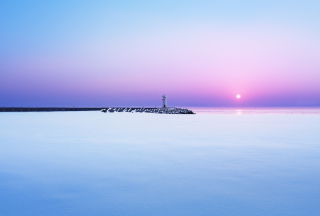 Lighthouse On Sea Pier At Dawn Picture for Android, iPhone and iPad
