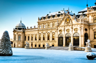Belvedere Baroque Palace in Vienna Background for Android, iPhone and iPad