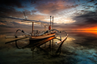 Kostenloses Landscape with Boat in Ocean Wallpaper für Android, iPhone und iPad