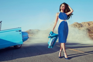 Selena Gomez Glamorous Blue Dress Wallpaper for Android, iPhone and iPad