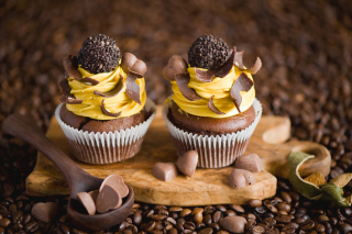 Cream And Chocolate Cupcakes Wallpaper for Android, iPhone and iPad