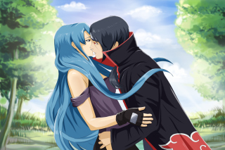 Uchiha Itachi and Akatsuki Kiss - Obrázkek zdarma pro 480x320