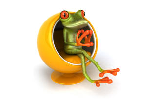 3D Frog On Yellow Chair Picture for Android, iPhone and iPad