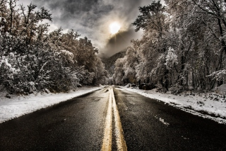 Pale Winter Road Background for Android, iPhone and iPad