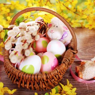 Easter Basket And Sheep - Obrázkek zdarma pro 208x208