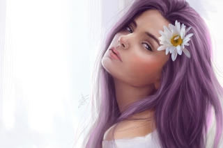 Free Girl With Purple Hair Painting Picture for Android, iPhone and iPad