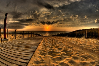 Sunset Ocean Sand Wallpaper for Android, iPhone and iPad