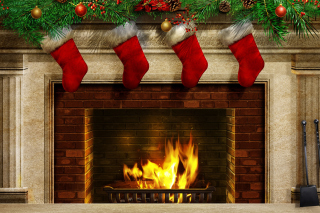 Fireplace And Christmas Socks Picture for Android, iPhone and iPad