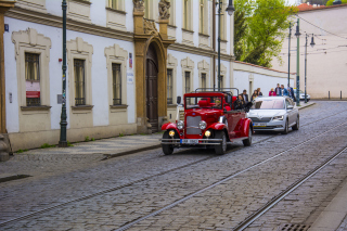 Prague Retro Car Background for Android, iPhone and iPad