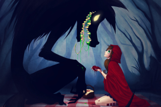 Red Riding Hood And Wolf Background for Android, iPhone and iPad