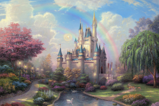 Cinderella Castle By Thomas Kinkade Wallpaper for Android, iPhone and iPad