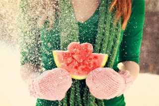 Heart Shaped Winter Watermelon Wallpaper for Android, iPhone and iPad