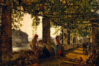 Sylvester Shchedrin, Terrace of the Seashore Background for Android, iPhone and iPad
