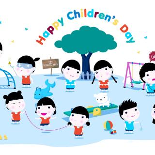 Happy Childrens Day on Playground - Obrázkek zdarma pro 1024x1024