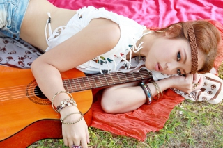 Girl with Guitar Background for Android, iPhone and iPad