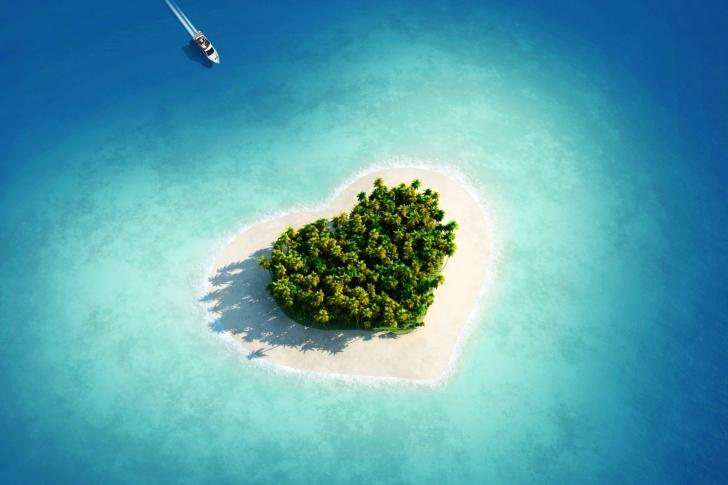 Обои Heart Shaped Tropical Island