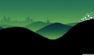Green Hills Illustration Picture for Android, iPhone and iPad