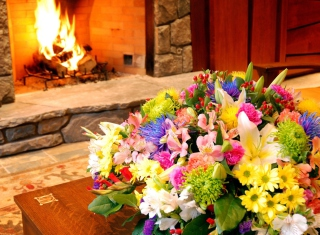 Bouquet Near Fireplace Background for Android, iPhone and iPad
