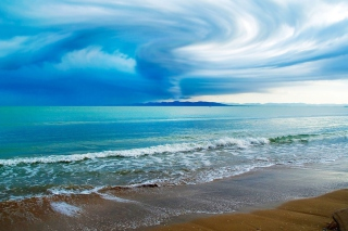 Blue Storm And Sea Wallpaper for Android, iPhone and iPad