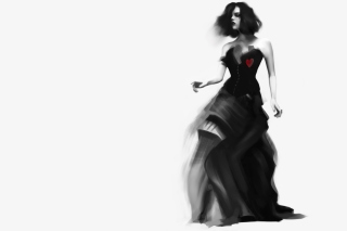 Free Girl Black And White Painting Picture for Android, iPhone and iPad