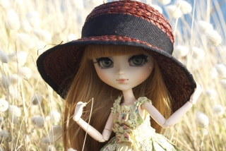 Pretty Doll In Hat Background for Android, iPhone and iPad