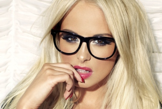 Blonde Model Wearing Black Glasses Background for Android, iPhone and iPad