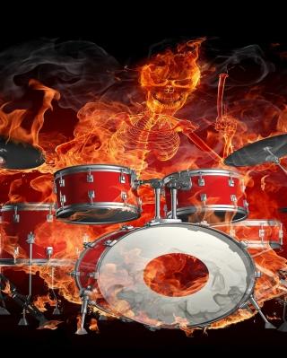 Skeleton on Drums - Obrázkek zdarma pro 128x160