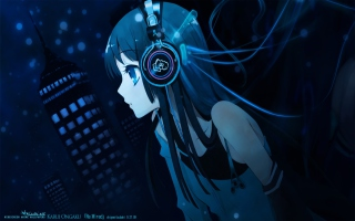 Anime Girl With Headphones Picture for Android, iPhone and iPad