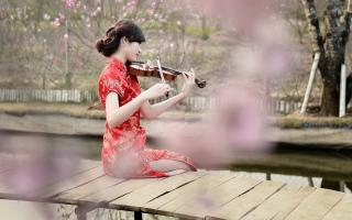 Pretty Asian Girl Violinist - Obrázkek zdarma pro Fullscreen Desktop 1280x1024