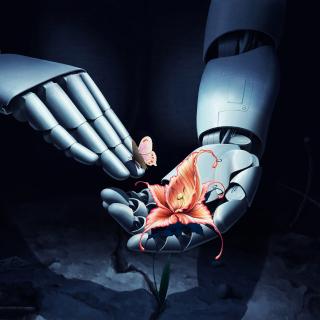 Art Robot Hand with Flower - Obrázkek zdarma pro 1024x1024