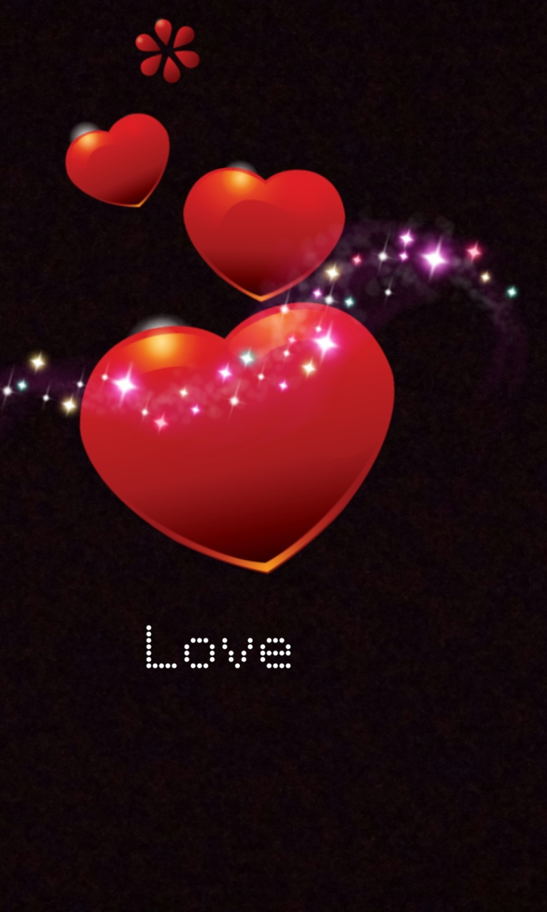 Sparkling Hearts Wallpaper For 768x1280
