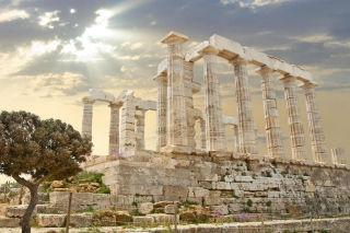Poseidon Temple Sounion Greece Background for Android, iPhone and iPad