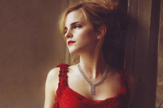 Emma Watson In Red Dress Wallpaper for Android, iPhone and iPad