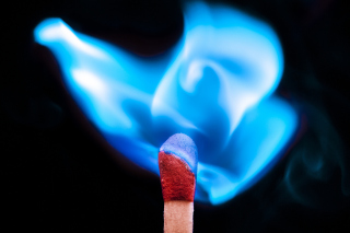 Blue flame match Wallpaper for Android, iPhone and iPad