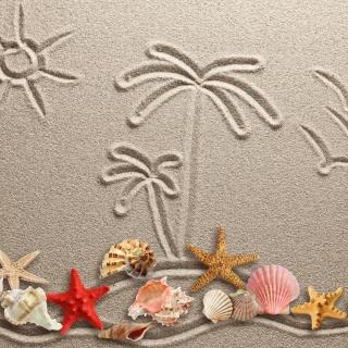 Seashells Texture on Sand - Obrázkek zdarma pro 1024x1024