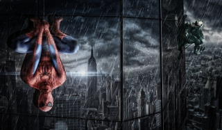 Spiderman Under Rain Background for Android, iPhone and iPad