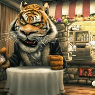 Bunnies and Tigers Funny - Obrázkek zdarma pro 128x128