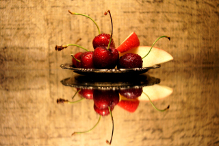 Cherries Acrylic Still Life Wallpaper for Android, iPhone and iPad
