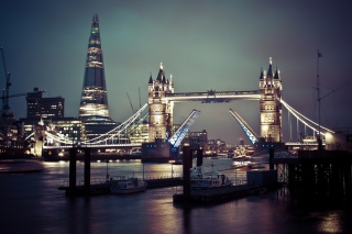 Tower Bridge Of London And The Shard Skyscraper Background for Android, iPhone and iPad