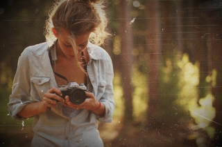 Blonde Girl Photographer Background for Android, iPhone and iPad