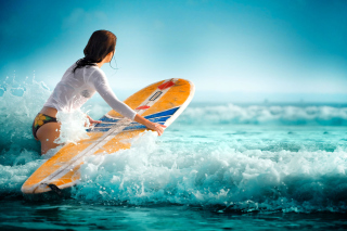 Surfing Girl Background for Android, iPhone and iPad