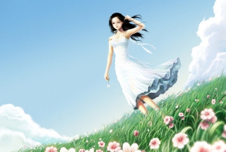 Girl In Blue Dress In Flower Field Picture for Android, iPhone and iPad