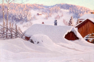 Anshelm Schultzberg Winter Landscape Wallpaper for Android, iPhone and iPad