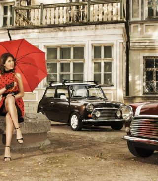 Girl With Red Umbrella And Vintage Mini Cooper - Obrázkek zdarma pro 480x640