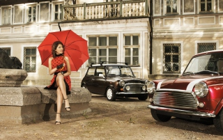 Girl With Red Umbrella And Vintage Mini Cooper - Obrázkek zdarma pro 720x320