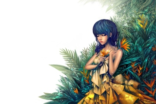 Girl In Yellow Dress Painting Background for Android, iPhone and iPad