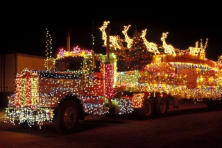 Xmas Truck in Lights Background for Android, iPhone and iPad